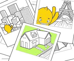 Coloriages Maisons, Villes et Monuments à imprimer
